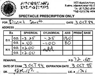 Eyeglass prescription - Image: Specrx prescription 2