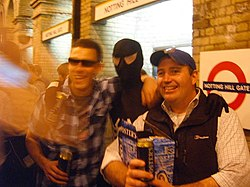 Spiderman and new mates at Notting Hill Gate (2540702074).jpg