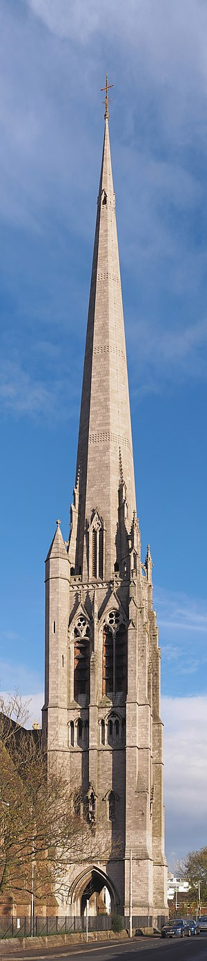 Church of St Walburge, Preston - Vertical panorama of St Walburge's spire, viewed from the west