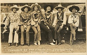 The Eastern States Exposition - Springfield cowgirls, c. 1930
