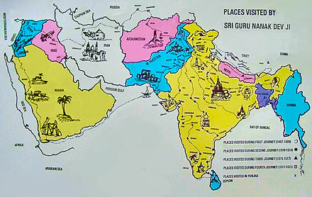 The 4 Udasis and other locations visited by Guru Nanak SriGuruNanak'sTravels.jpg