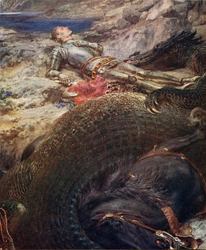 Briton Rivière - St. George and the Dragon - Briton Rivière's depiction of an exhausted St. George lying down beside the slain dragon is a radical departure from the triumphant equestrian position in which this saint is traditionally depicted.