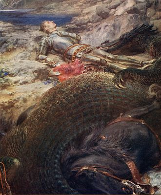 Briton Rivière - St. George and the Dragon – Rivière's depiction of an exhausted St. George lying down beside the slain dragon is a radical departure from the triumphant equestrian position in which this saint is traditionally depicted.