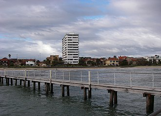 Geography of Port Phillip -  View of St. Kilda Beach from a short pier. (2009)