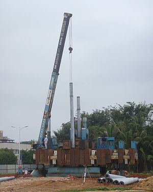 Static load testing - Kentledge load testing in Haikou, Hainan, China