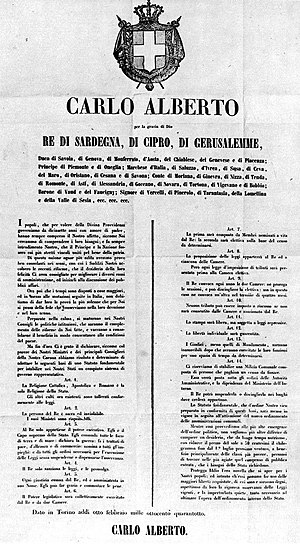 Statuto Albertino - Notice of the proclamation of the Albertine Statute.