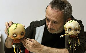 Stop motion - Stefano Bessoni, Italian filmmaker, illustrator and stop-motion animator working on Gallows Songs (2014)