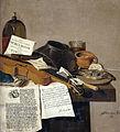Stilleven met een exemplaar van De Waere Mercurius, een nieuwsblad over Tromp's overmeestering van drie Engelse schepen op 28 juni 1639, en een gedicht over de schoenmaker die het werk van Rijksmuseum SK-A-752.jpeg