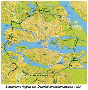 Stockholm Ring Road - Stockholm ring road according to the 1992 plan