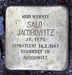 Photo of Salo Jacobowitz brass plaque