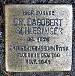 Photo of Dagobert Schlesinger brass plaque