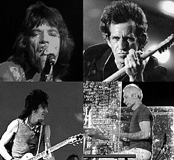 oben: Mick Jagger (1972), Keith Richards (1995)unten: Ron Wood (1981), Charlie Watts (2006)