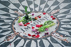 "Strawberry Fields (memorial) - The caption ""Imagine"" on the memorial mosaic"