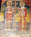 Sts. Theodore Tyron & Theodore Stratelates in Dobarsko Saints Constantine and Helen Fresco.jpg