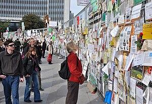 Stuttgart 21 - Protest manifestations on the fence during demolition works