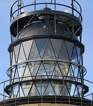 Sumburgh Head Lighthouse - Diamond lattice window of the cylindrical lantern