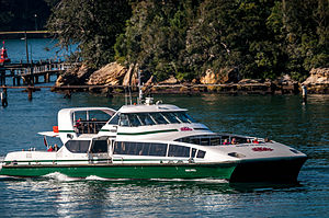 Double Bay ferry services - ''Susie O'Neill'' passing Goat Island in July 2013