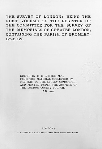 Survey of London - Title page of the first volume, covering Bromley-by-Bow, 1900