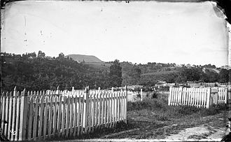 Symonds Street Cemetery - Symonds Street Cemetery in 1863, with Maungawhau / Mount Eden in the background