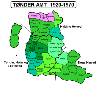 Tønder County - Tønder County. The areas marked in green became part of South Jutland County in 1970. The three parishes indicated in pink were transferred to Ribe County the same year.