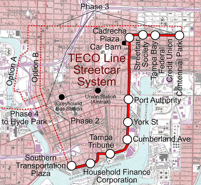 TECO Rail in Ybor City & Downtown Tampa, Florida