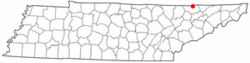 Location in Claiborne County, Tennessee