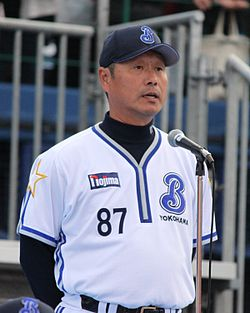 Takao Obana manager of the Yokohama BayStars, at Yokohama Stadium.JPG