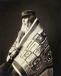 Chief Anotklosh (Taku) wearing a Chilkat blanket, Juneau, Alaska, ca. 1913
