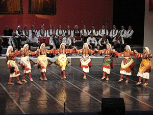 Music of the Republic of Macedonia - Image: Tanec folk ensemble Macedonia 1