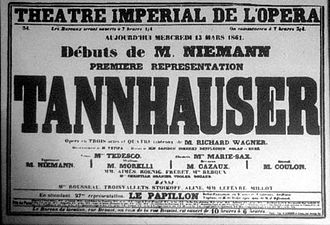 "Tannhäuser (opera) - Poster for first Paris production of Wagner's opera ""Tannhäuser"""