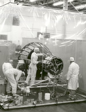 Project Mercury - Spacecraft production in clean room at McDonnell Aircraft, St. Louis, 1960