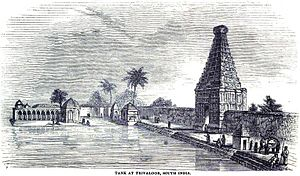 Tiruvallur - Image: Temple and Tank at Trivaloor, South India (April 1848, p.36, V) Copy