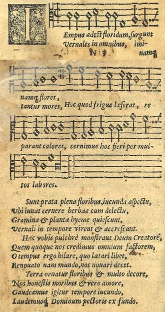 "Good King Wenceslas - ""Tempus adest floridum"" in the 1582 Finnish song collection Piae Cantiones. The melody formed the basis for the carol."