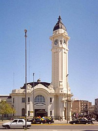 The front door and clock tower of the Mariano Moreno Bus Terminal, on Cafferatta St., Rosario