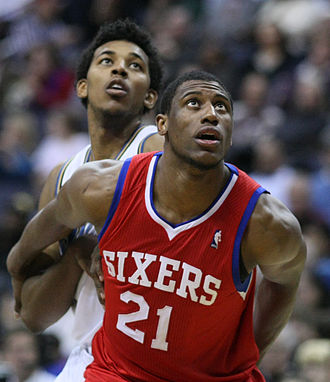 Thaddeus Young - Young (front) boxing out during his tenure with the 76ers