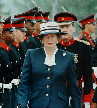 Thatcher reviewing the Royal Bermuda Regiment in early 1990 Thatcher reviews troops.jpg