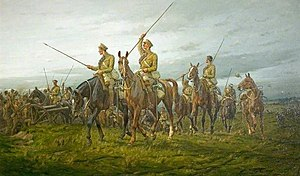 12th Royal Lancers - The 12th Lancers at Moy, France, on 28 August 1914 during the First World War