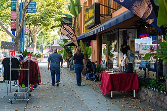 The Alameda, San Jose - The Alameda's tree-lined shopping street.