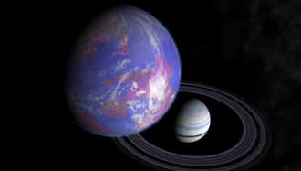 Exomoon - Artist's impression of a hypothetical Earth-like moon around a Saturn-like exoplanet