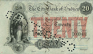 Australian pound - City Bank of Sydney in Australia cancelled £20 banknote