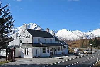 Glen Shiel - The Cluanie Inn at the head of Glen Shiel, with the A87 (right) and the South Glen Shiel ridge (background)