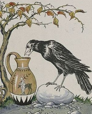 The Crow and the Pitcher - The Crow and the Pitcher, illustrated by Milo Winter in 1919