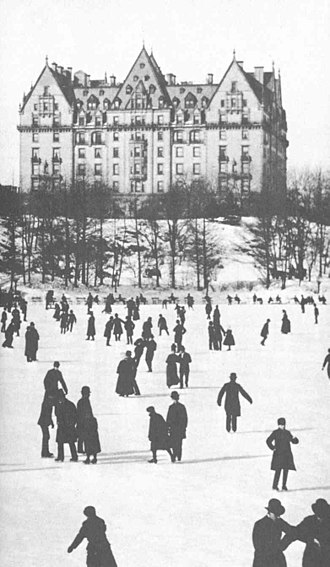 American urban history - The Dakota luxury apartment building in New York, view from Central Park,  1890