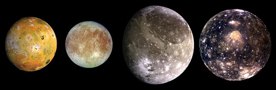 The Galilean moons. From left to right, in order of increasing distance from Jupiter: Io, Europa, Ganymede, Callisto. The Galilean satellites (the four largest moons of Jupiter).tif