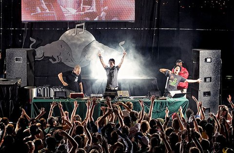 The Glitch Mob performing in the Netherlands in 2010 The Glitch Mob Live.jpg