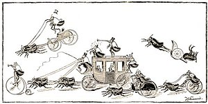 """Flea circus - """"The Go-As-You-Please Race, as seen through a Magnifying Glass"""", engraved by J. G. Francis, from an article by C. F. Holder in St. Nicholas Magazine, 1886"""