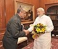 The Governor of Andhra Pradesh, Shri E.S.L. Narasimhan calling on the Prime Minister, Shri Narendra Modi, in New Delhi on May 30, 2014.jpg