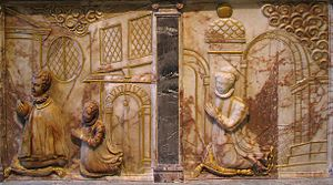 Nonsuch Palace - These reliefs in the Lumley Chapel are believed to be the only surviving depictions of the Nonsuch Palace interiors