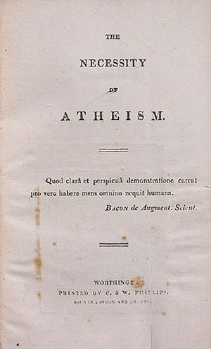 The Necessity of Atheism - 1811 title page. Worthing: C. and W. Phillips.