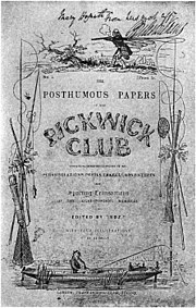 Original Pickwick cover issued in 1837 with Dickens' autograph — most of Dickens' novels were issued in shilling installments before being published in the complete volume